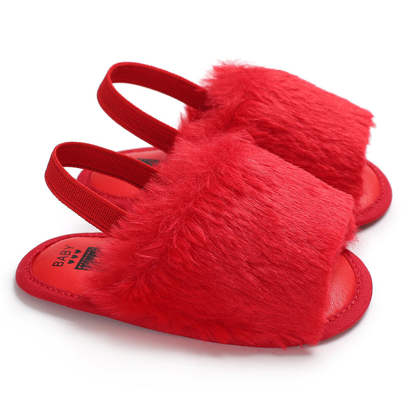 Fluffy Baby Sling Back Slides