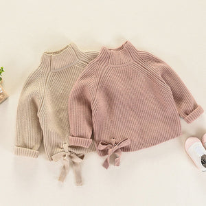 Turtle Neck Knitted Bow Sweater