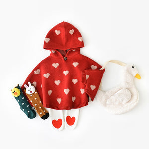 Limited Edition Knitted Hearts Cosy Poncho