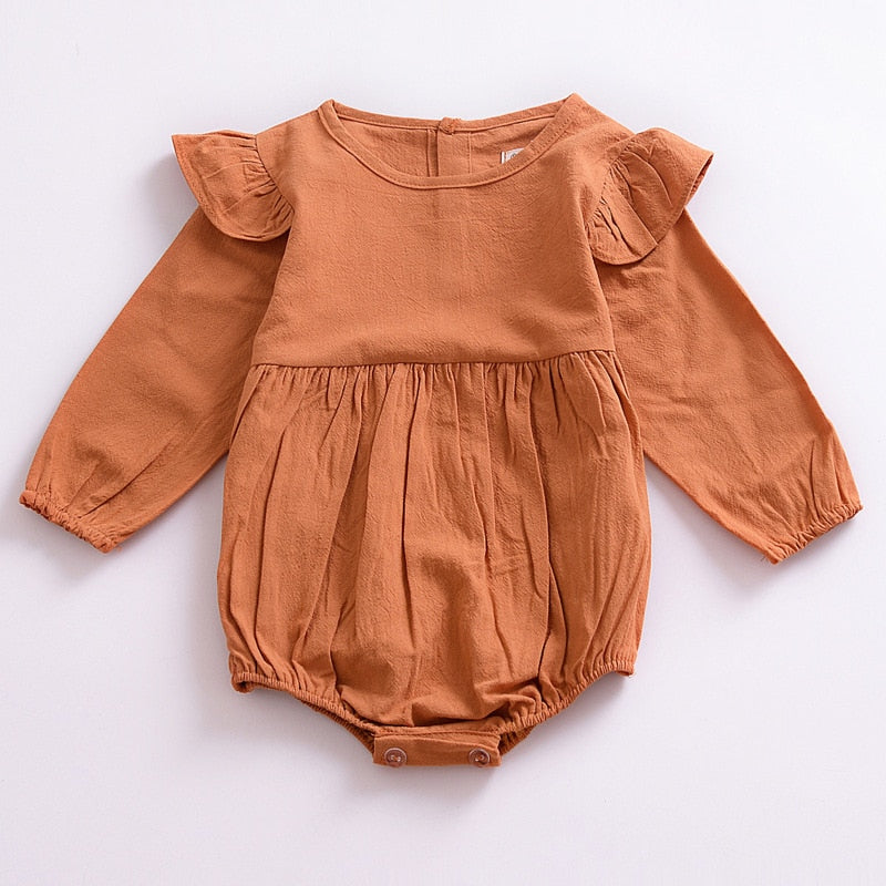Autumn Baby Girl Frill Sleeve Romper