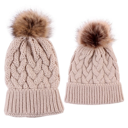 Matching Mommy   Baby Knitted Pompom Hats – Tiggy s Boutique c3ace28008b