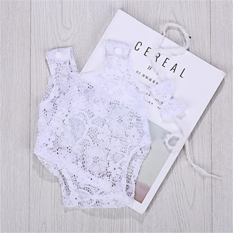 Bow Lace Bodysuit & Headband Set, Newborn Photography Props
