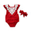 Christmas Lace Neck Red Romper with Headband