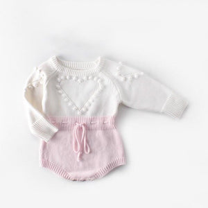 Heart Bobble Long Sleeve Knitted Romper