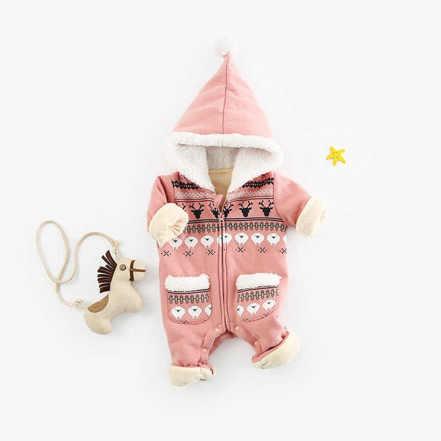 Thick Fleece Winter Pattern Hooded Jumpsuit