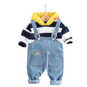 Cute Rainbow Overalls & Hooded Top Set