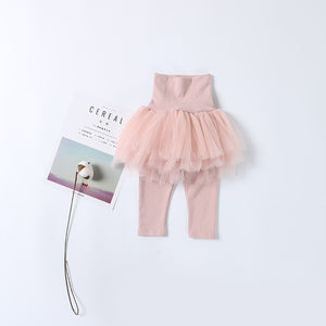 Soft High-Waist Leggings with Tutu Skirt