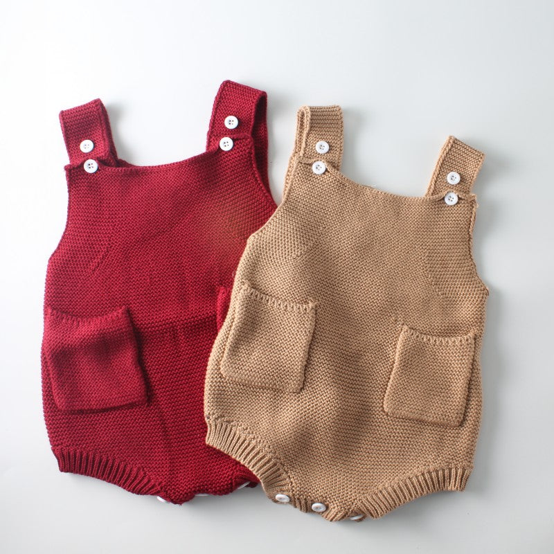 Plain Knitted Pocket Romper