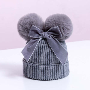 Luxury Pompom Hat with Velvet Bow