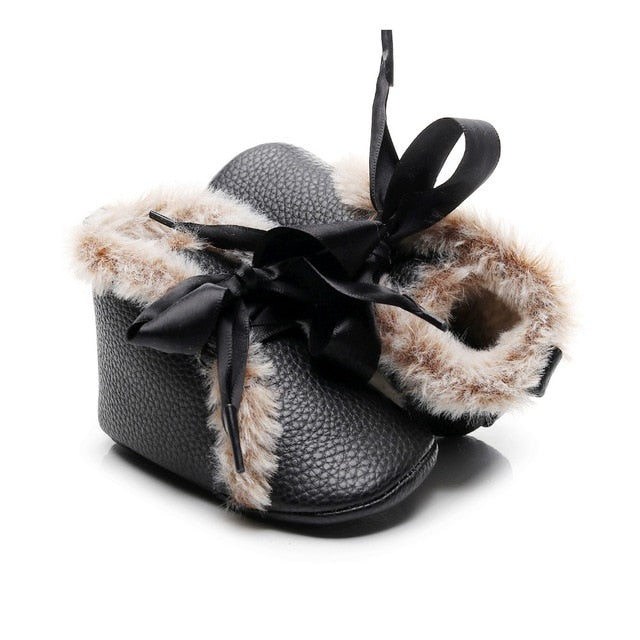 Ribbon Bow Fur Boot Moccasins