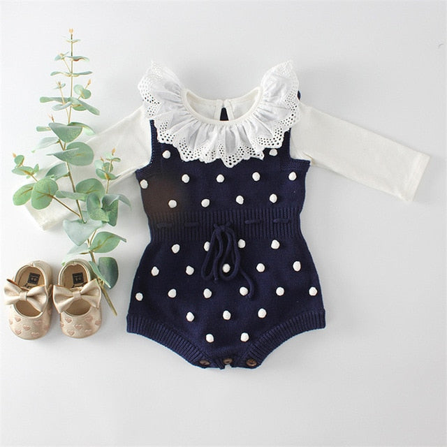 Polka Dot Sleeveless Knitted Romper