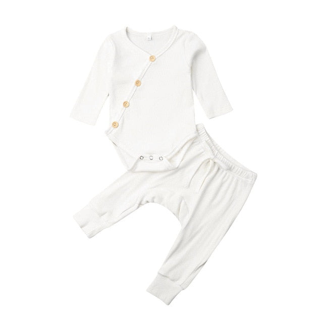 Basics Ribbed Button Romper & Pants Set