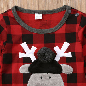 Cute Reindeer Pompom Plaid Jumpsuit