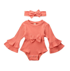 Flare Sleeve Ribbed Romper & Headband Set
