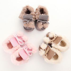 Soft Pompom Winter Baby Booties