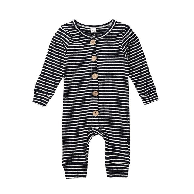Basics Ribbed Striped Button Jumpsuit