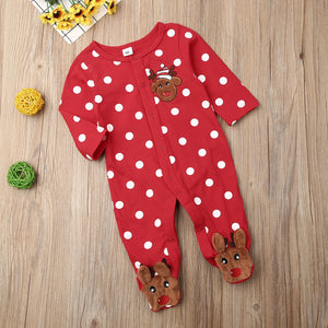 Polka Dot Footed Reindeer Jumpsuit
