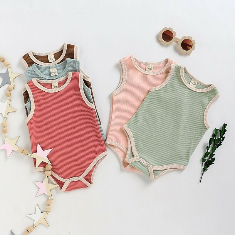 Basics Sleeveless Piped Vest Romper