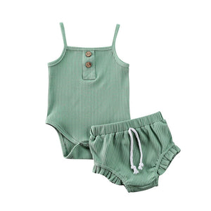 Ribbed Vest Romper & Frill Bloomers, Various Colors