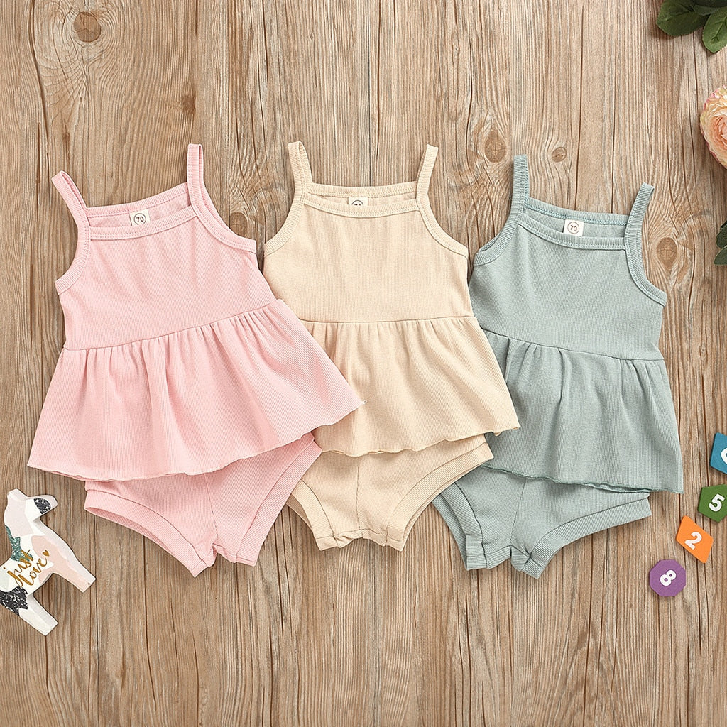 Sweet Rib-Knit Vest & Shorts Set