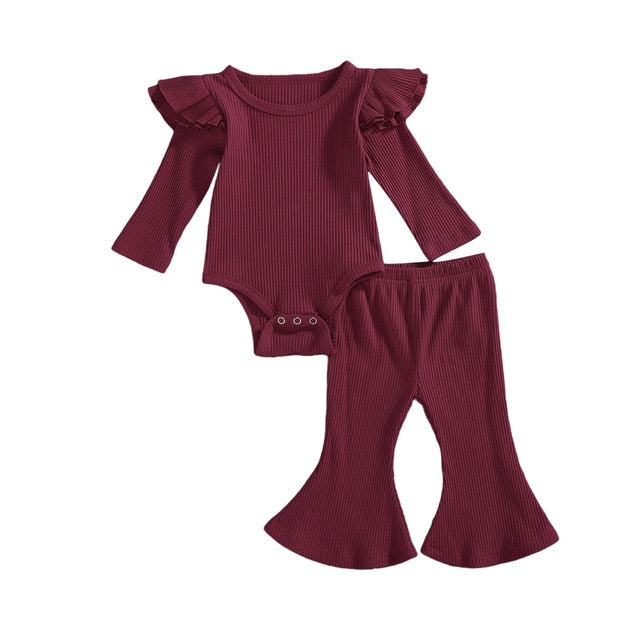 Ruffle Ribbed Flare Pants Lounge Set