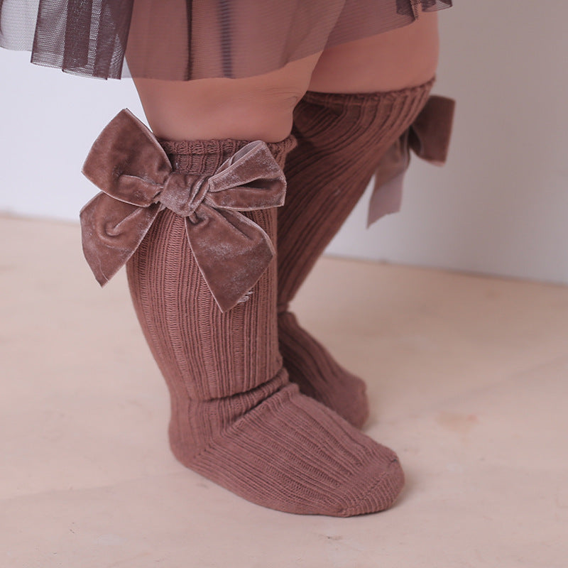 Soft Ribbed Velvet Bow Knee-Highs