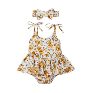Golden Rose Tutu Romper & Headband