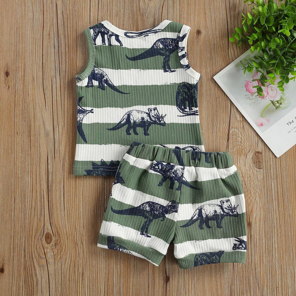 Striped Dinosaur Ribbed Summer Set