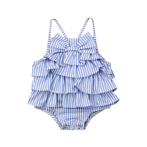 All the Ruffles Striped Bow Romper