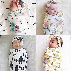 Newborn Pattern Swaddle Set with Headband