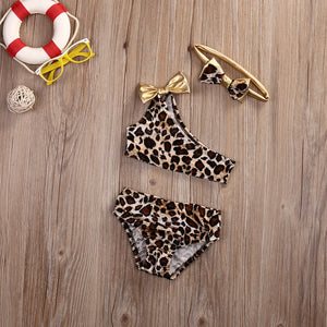 Gold Leopard Print Three-Piece Swimsuit