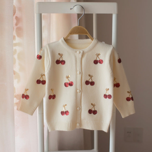 Soft Knit Sequin Cherry Cardigan