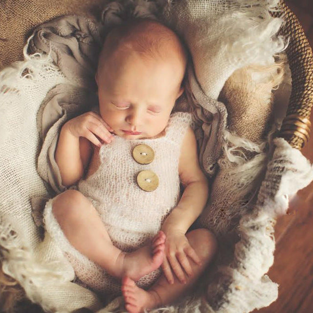 Knitted Button Romper, Newborn Photography Props