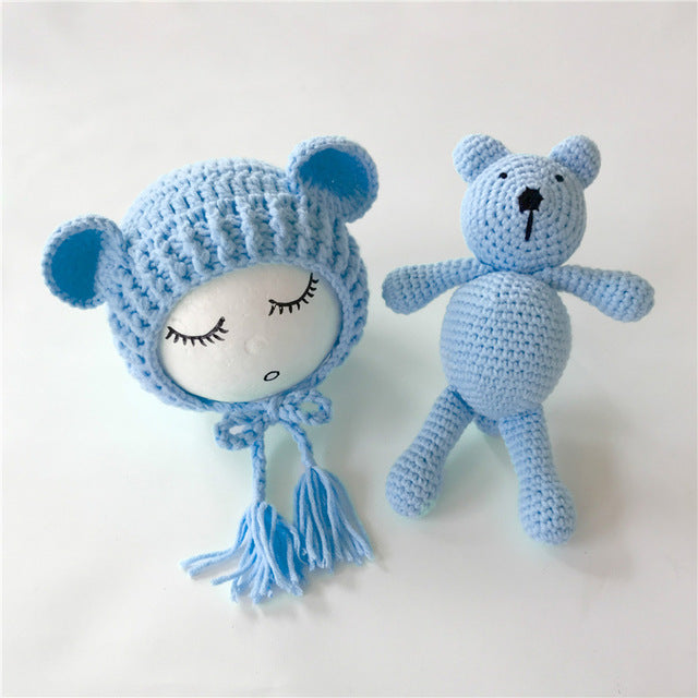 Crochet Beanie & Bear Set, Newborn Photography Props