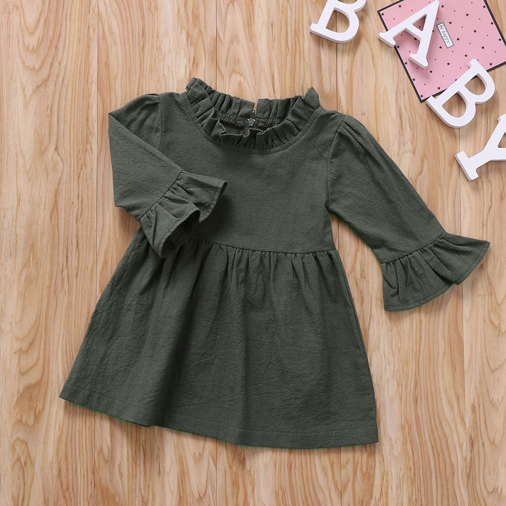 Khaki Flare Sleeve Dress