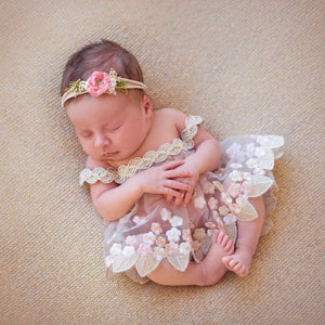 Floral Embroidered Dress & Headband Set, Newborn Photography Props