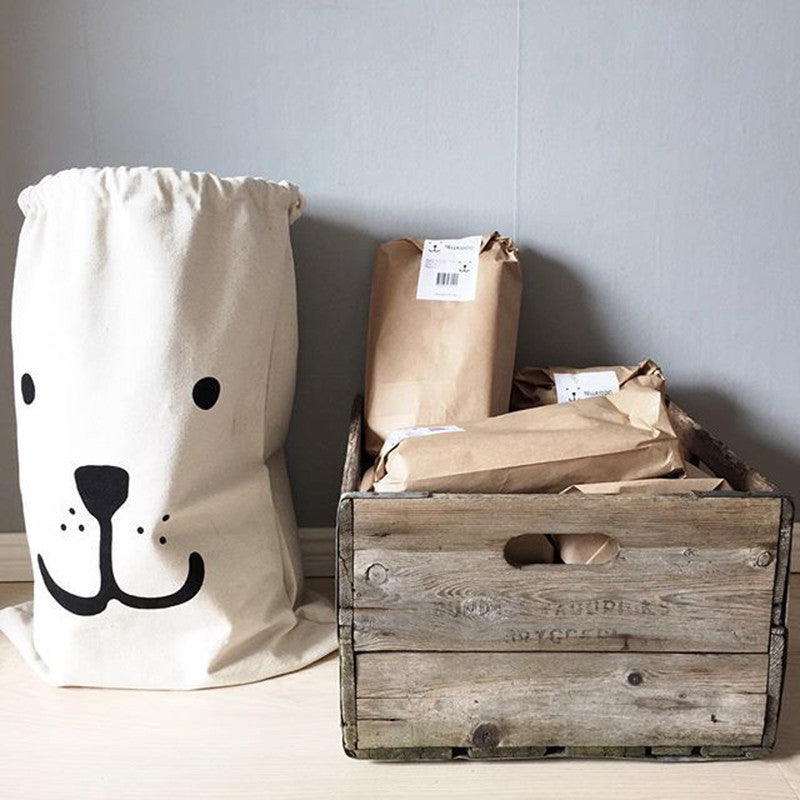 Bear Canvas Storage Bag
