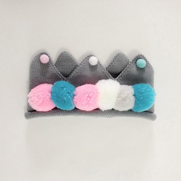Cute Knitted Pompom Crown