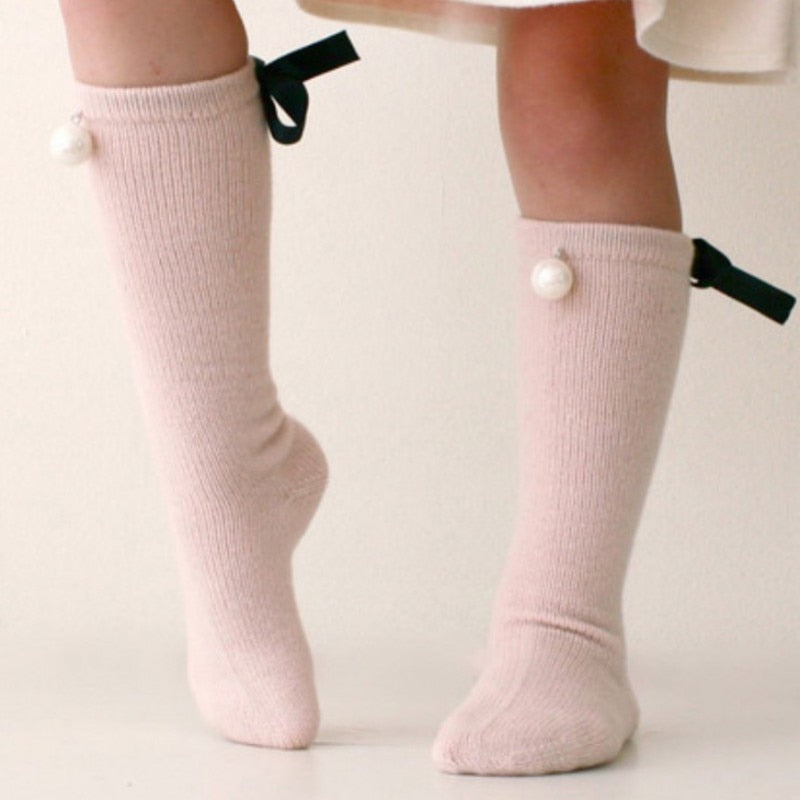 Pearl and Bow Knee High Socks