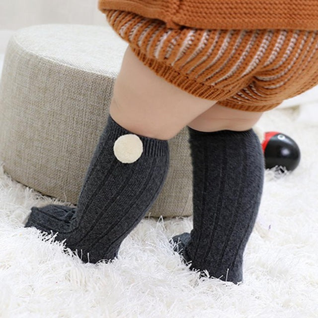 Pom Pom Knee-High Socks