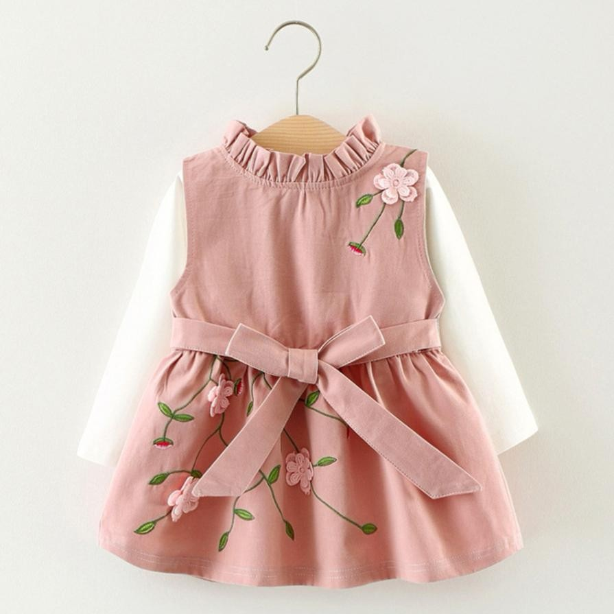 Embroidered Flower Baby Girl Dress Set