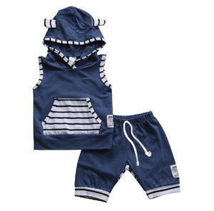 Hooded Bear Striped Set