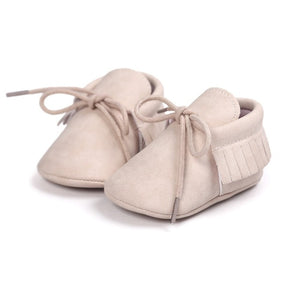 Suede Baby Laced Fringe Moccasins