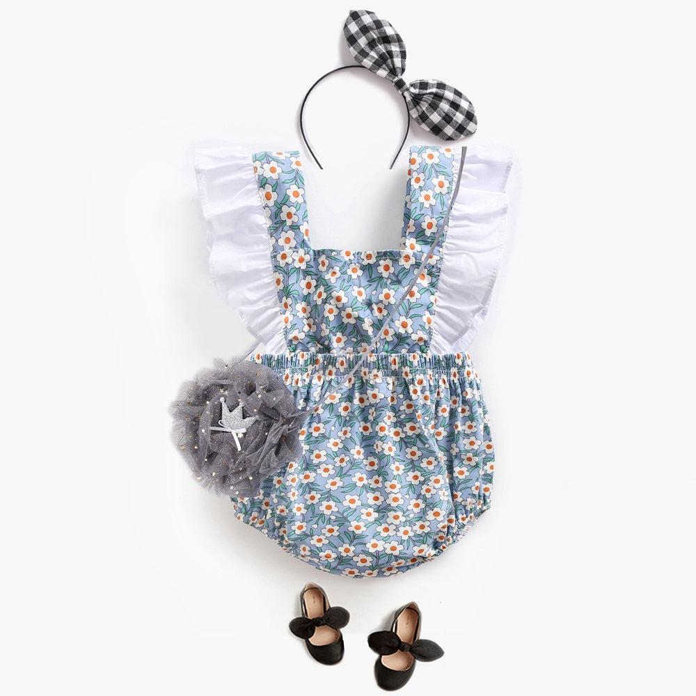 Floral Bow Back Ruffle Romper