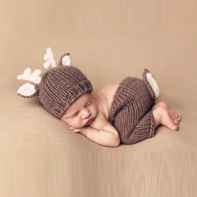 Reindeer Knitted Set, Newborn Photography Props
