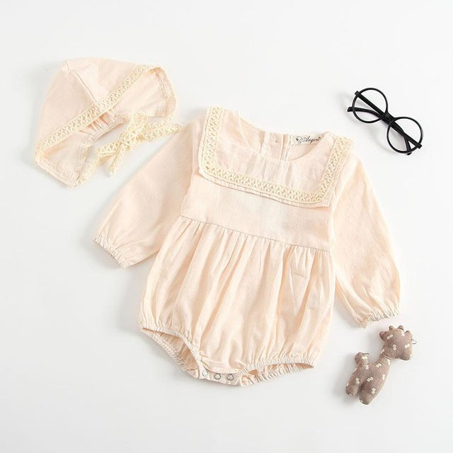 Embroidered Bib Romper and Bonnet Set