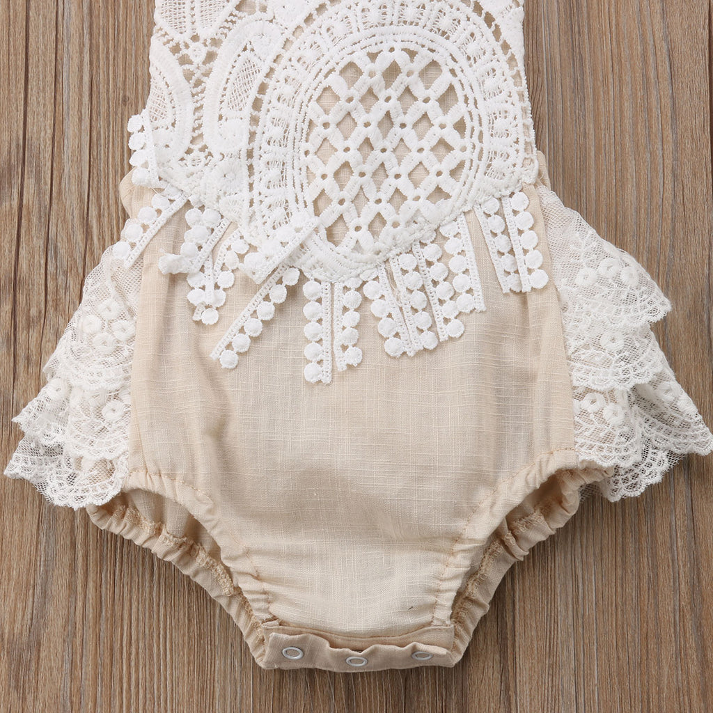 Detailed Lace Frill Back Baby Romper
