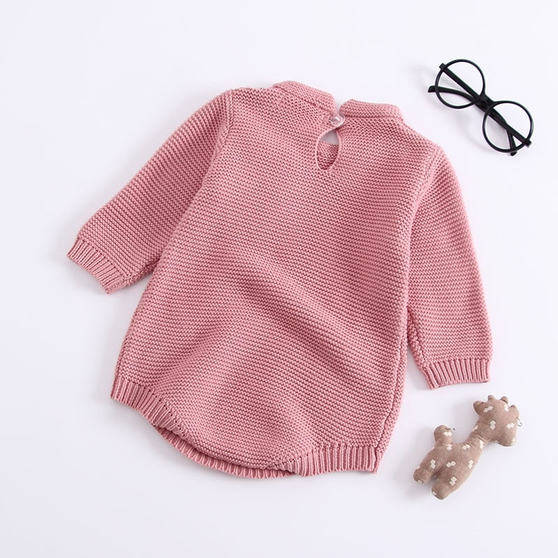 Knitted Bow Ribbon Romper