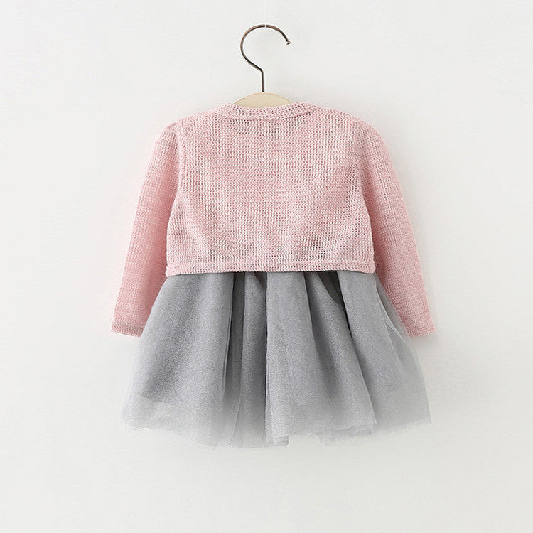 Knitted Top Pearl Button Two Piece Dress