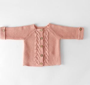 Soft Cable Knit Cardigan Pink